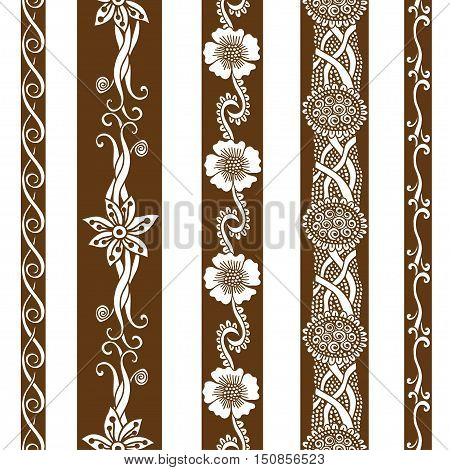 Vector set vintage ornate borders. Hand drawn henna mehndi tattoo doodle borders