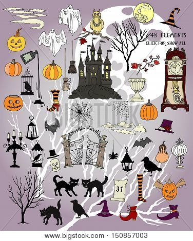 Halloween.Halloween is the colorful holiday. Hand drawn elements.Halloween decorations with  pumpkin, cat, ghost, hours, castle, moon and trees. Vector Illustration