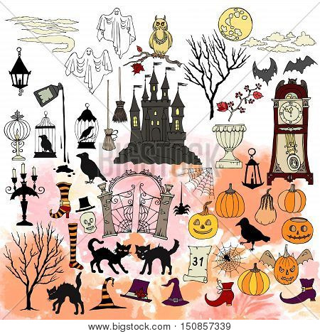 Halloween. Background with  hand drawn elements.Halloween decorations with  pumpkin, cat, ghost, hours, castle, moon and trees. Vector Illustration