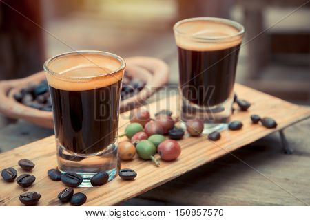 Doble shot Espresso Coffee with coffee bean
