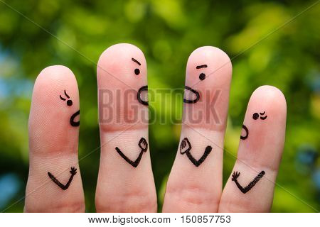 Finger art of people during quarrel. Dispute.