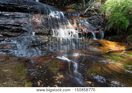 Water flowing over rock waterfall close up. Wentworth falls Australia