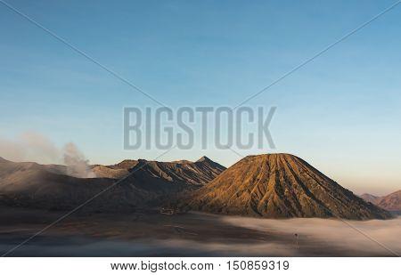 Volcano Bromo and Batox on morning. Java, Indonesia.