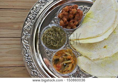 Flat Lay Of Indian Food, Masala Dosa With Sambar And Channa Masala