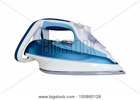 Modern electric iron isolated on white background. Ironing steam cleaning.