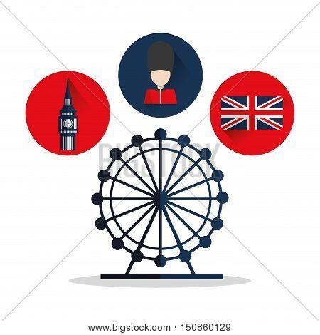 Big ben flag eye and soldat icon. London england landmark and tourism theme. Colorful design. Vector illustration
