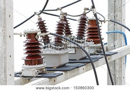 Outdoor High Voltage Instrument Transformers isolated on white background