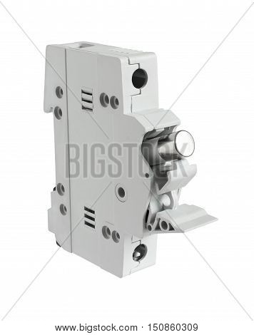Electrical Fuse Holder with fuse Opened Position isolated on white background