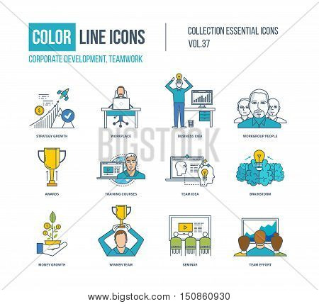 Color Line icons collection. Corporate development, teamwork concept. Strategy growth, workplace, business idea, workgroup people, training courses, brainstorm, money growth winner team seminar