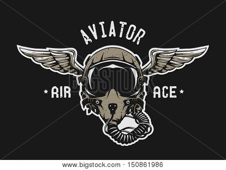 Fighter Pilot Helmet Emblem t shirt design. Vector illustration.