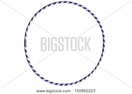 The hula Hoop blue with silver isolated on white background. Gymnastics, fitness, diet. Versatile exerciser for sports , fitness and ballet.
