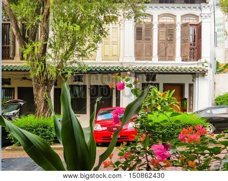 SINGAPORE, REPUBLIC OF SINGAPORE - JANUARY 10, 2014: Emerald Hill is conservation area in Singapore with Chinese Baroque architecture