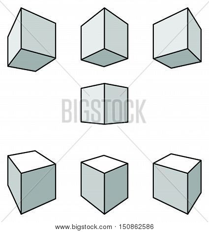 Set of seven cubes with shadows in linear perspective with two point of vanishing isolated on white