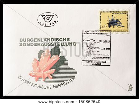 AUSTRIA - CIRCA 1986 : First day cover letter printed by Austria, that shows Minerals.
