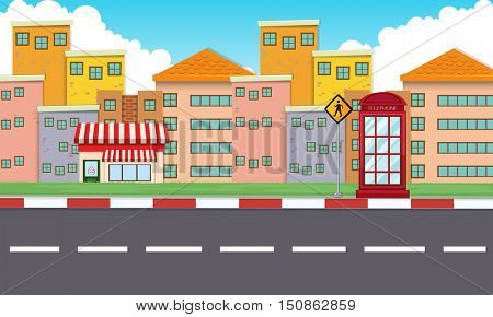 Buildings along the empty road illustration