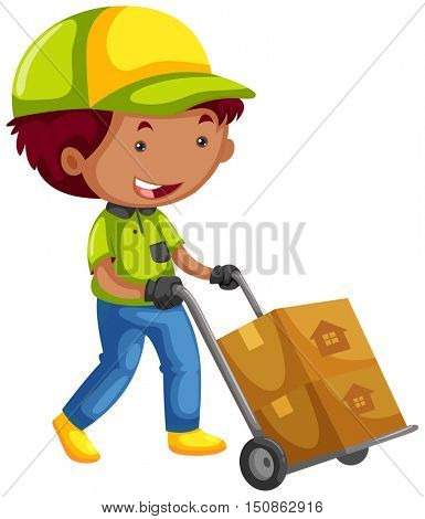 Deliveryman delivering two packages illustration
