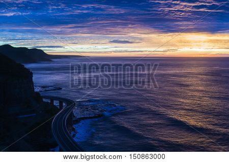 Sea Cliff Bridge On Sunrise In Pink And Yellow Hues