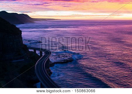 Sea Cliff Bridge On Sunrise  In Purple And Pink Light