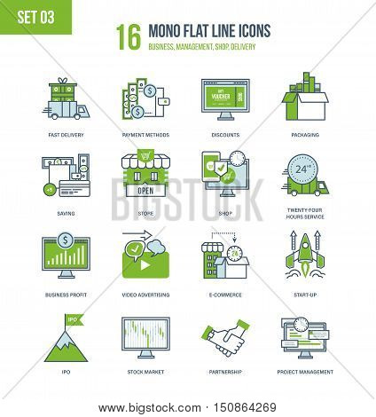 Color Flat Line icons set of stock market, business, discounts, e-commerce, project management and start up, shopping, delivery, payment methods, discounts, partnership, advertising Editable Stroke