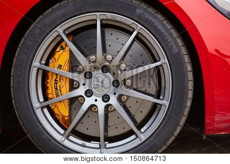 Kiev, Ukraine - OCTOBER 4, 2016: Mercedes Benz star experience. The interesting series of test drives. Part of modern Mercedes-Benz with AMG disk brake pad