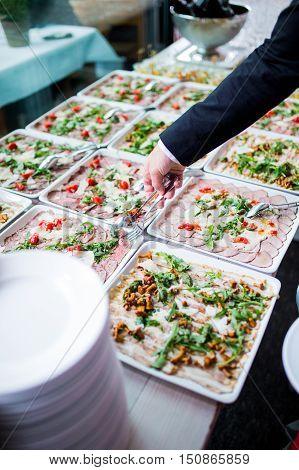 Various lunch buffet in a restaurant freshfood