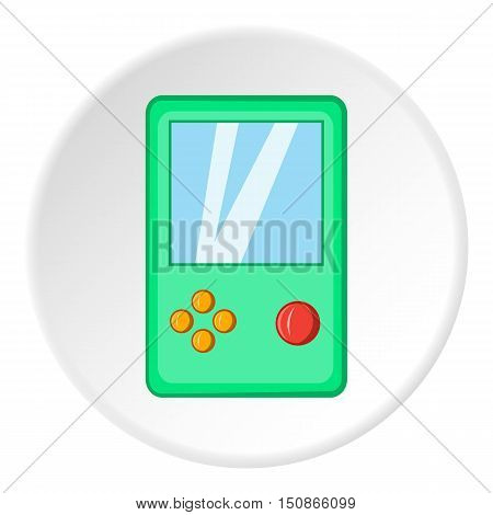 Tetris icon in cartoon style isolated on white circle background. Games and toys symbol vector illustration