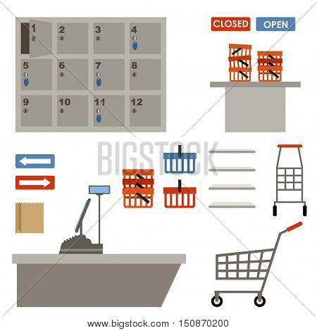 Supermarket equipment. Shopping basket empty shelfs left-luggage. Shopping market shop. Vector
