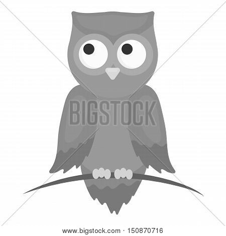 Owl icon monochrome. Singe animal icon from the big animals monochrome.