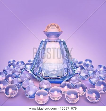 Perfume in a glass bottles and glass beads on lilac. 3D illustration