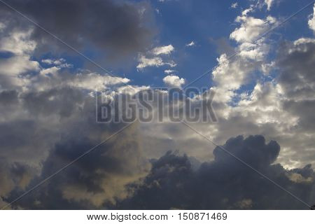 Clouds in the sky foretell a fast big rain
