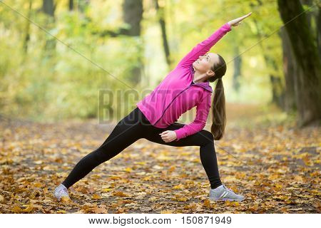 Sporty beautiful young woman practicing yoga, standing in Utthita Parsvakonasana, Extended Side Angle Posture, working out outdoors on autumn day wearing sportswear sweatshirt. Full length, side view