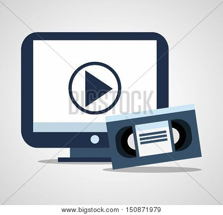 Vhs and tv icon. Cinema movie video and film theme. Isolated design. Vector illustration