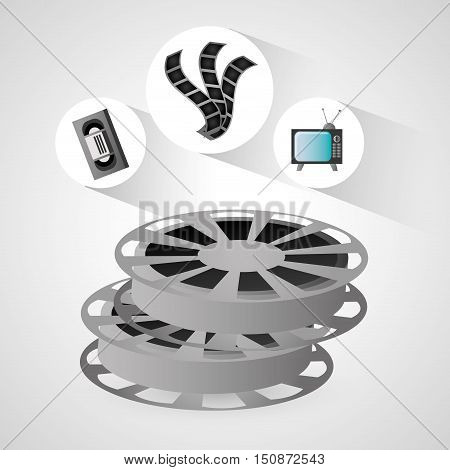Film reel vhs and tv icon. Cinema movie video and film theme. Colorful design. Vector illustration