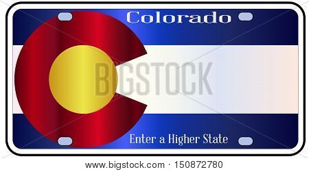 Colorado state license plate in the colors of the state flag with the flag icons over a white background