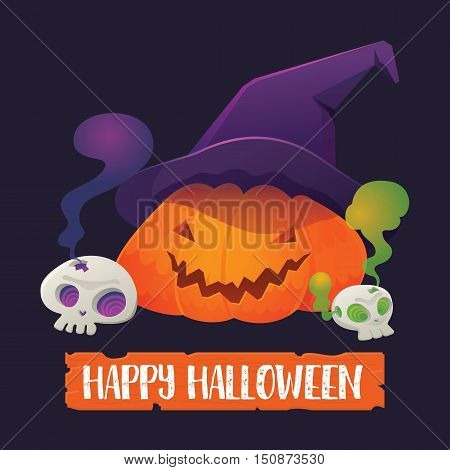 Vector Illustration of Pumpkin Jack-O'-Lantern wearing Witch Hat with Skull and Happy Halloween Sign