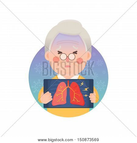 Vector Illustration of Old Man Holding X-ray Image Showing Inflammation Lung Problem, Cartoon Character