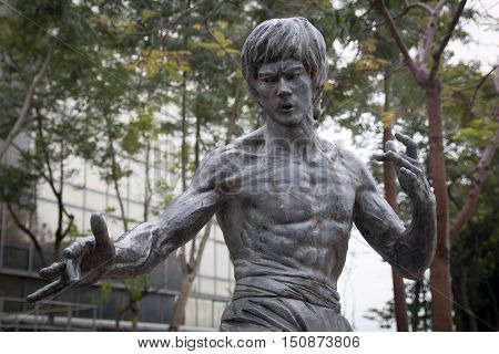 HONG KONG - January 21, 2016: Bruce Lee statue at the Garden of Stars in Hong Kong, China