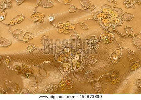 Close up handmade sequin cloth for Buddha in thailand