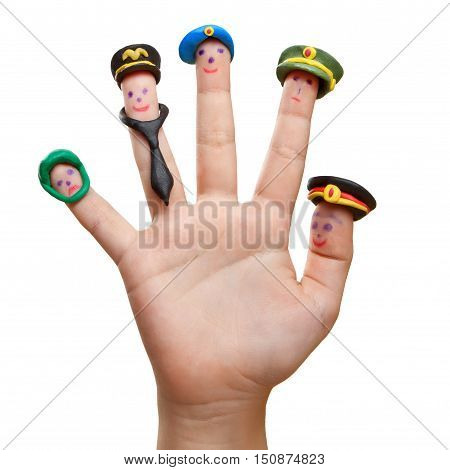 Men drawn on the fingers with plasticine hats Russian military professions