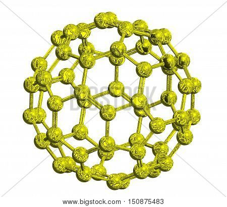 Molecular structure of fullerene (metallic) - carbon atoms in form of hollow sphere 3D rendering