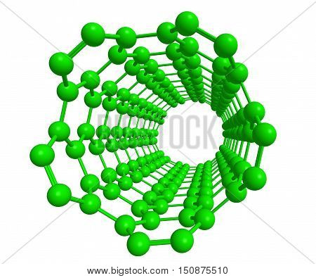 Molecular structure of nanotube (green) - carbon atoms in form of hollow tube 3D rendering