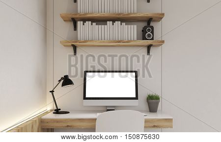 Close up of computer monitor on wooden table. Bookshelves with speakers are hanging above it. Concept of home office. Mock up. 3d rendering