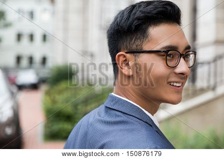 Close Up Of Asian Man In Town