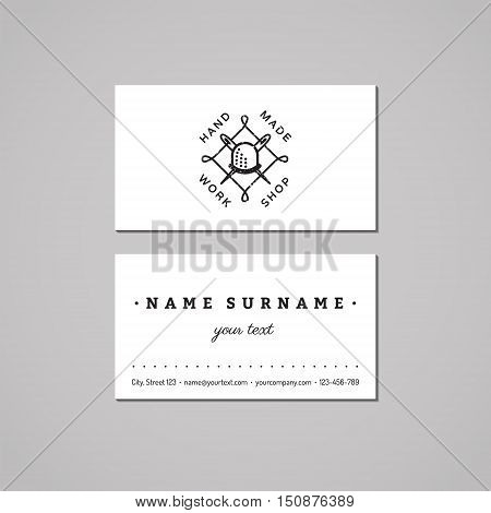 Handmade workshop business card design concept. Logo with thimble with needles and thread. Vintage hipster and retro style. Black and white.