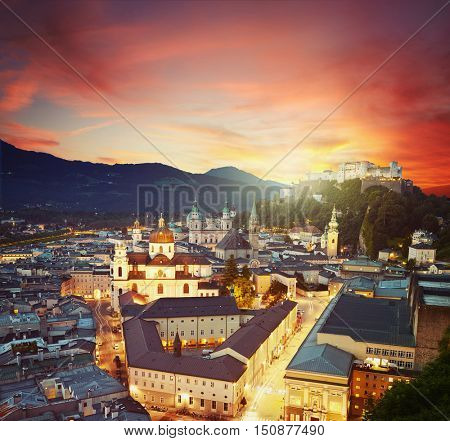 Aerial night view of the famous historic city of Salzburg