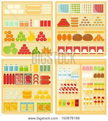 Set of Shop and Supermarket Shelves with Products. Vector Illustration.