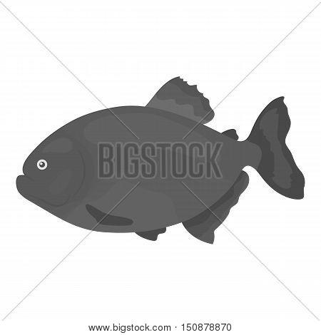 Piranha fish icon monochrome. Singe aquarium fish icon from the sea, ocean life monochrome.
