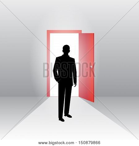 Business concept illustration of a businessman walking into keyhole with bright light.