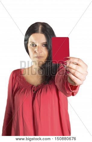 An image of a pretty woman showing red card. Selective focus on card