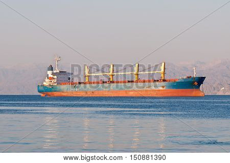 Bulk Carrier Cargo ship anchored off Eilat in Red gulf of Aqaba